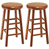 Wood Swivel Seat, Bar Stool, 25″, Set of 2, Cherry Provides Comfortable and Classic-Style Seating Review