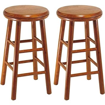 Wood Swivel Seat, Bar Stool, 25 , Set of 2, Cherry Provides Comfortable and Classic-Style Seating