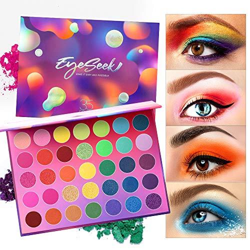 Amazon Com Eyeseek Colorful Eyeshadow Palette 35 Colors High Pigmented Makeup Palette Matte And Shimmer Glitter Eyeshadow Waterproof Long Lasting Eye Shadow Palette Beauty