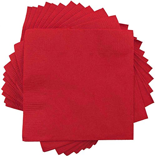 White Graduation Lunch Napkins - JAM PAPER Medium Lunch Napkins - 6 1/2 x 6 1/2 - Red - 50/Pack