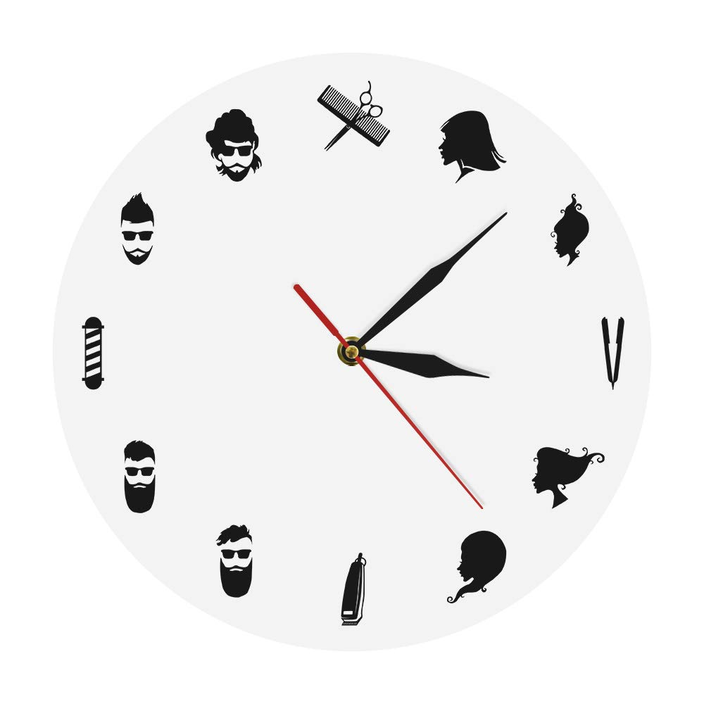 Amazon.com: The Geeky Days Barber Shop Decorative Wall Clock Hairdresser Modern Wall Watch Hair Salon Beauty Hairdressing Decor Art: Home & Kitchen