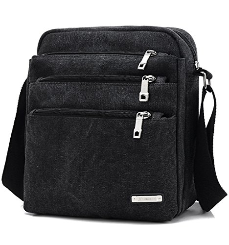 Price comparison product image Amarte Unisex Small Canvas Shoulder Bag ECO-Friendly Cross Body Bag Black