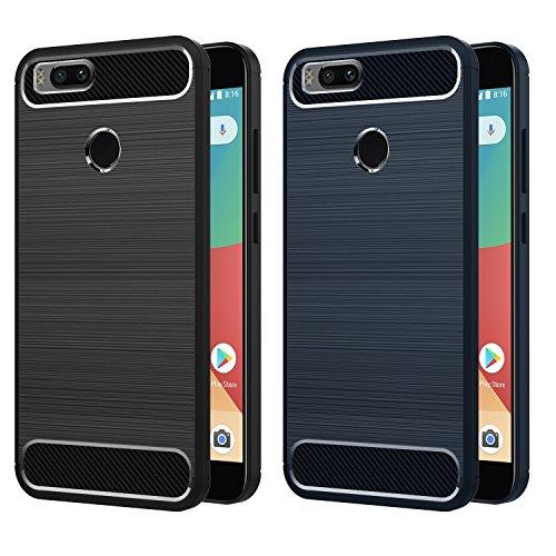 [2-Unidades] Funda Xiaomi Mi A1, iVoler Súper TPU Silicona Carcasa Fundas Protectora con Shock- Absorción y Diseño de Fibra de Carbon Para Xiaomi Mi A1 (Negro+Azul)