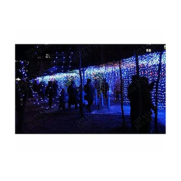 LED Tenda Luminosa, Catena Luminosa, Luci cascata, Luci per Tende, 216 LEDs 5M Natale Luci Stringa Bianco Caldo 8 Modalità Impermeabili IP44, per Natale finestra, porta, patio, giardino, feste, Blu 5 spesavip