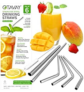 Otavay Stainless Steel Metal Drinking Straws, Set of 6 (4 Bent - 1 Extra Long - 1 Extra Wide) + Cleaning Brush, Reusable, BPA Free, Eco Friendly, Great for Tumblers like the 20 + 30 oz Yeti Rambler