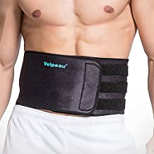 Velpeau Sports Back Brace for Men & Women, Abdominal Support Belt for Strains, Sprains and Pain Relief - For Losing Weight - Elastic Straps, Lightweight & Flexible (L/XL)