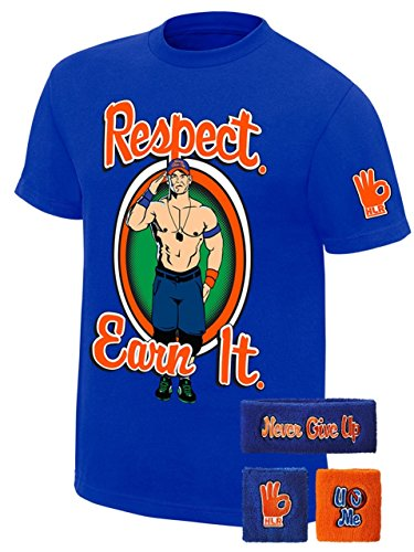 John Cena WWE Respect Earn It T-shirt Headband Wristbands Boys Juvy-YL (14-16) by Freeze