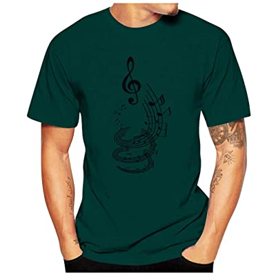 HDGTSA Men Casual Funny T-Shirt Musical Note Print Blouse O-Neck Short Sleeve Tees Tops(A Green,3XL): Clothing