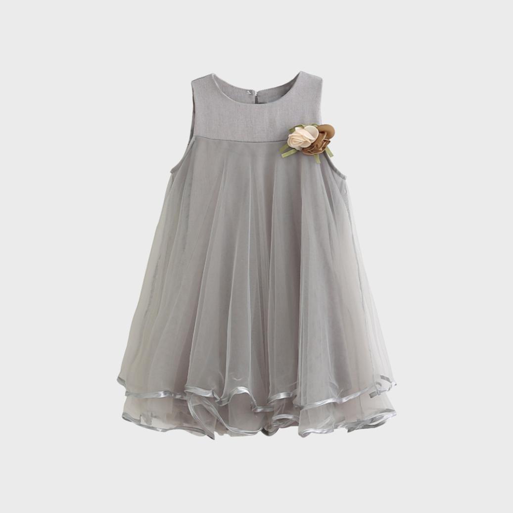 Niña Princesa Vestido,Sonnena Encaje Vestido de sin Manga para bebé Niña Flores Vestido Estilo Elegante Lindo Tutú Vestido de la Niñita