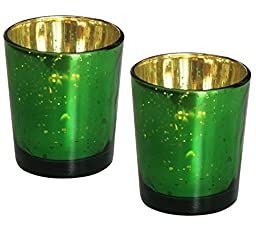 Set of 2 Tealight Holders for Living Room Decorations - SouvNear Dotted Glass Tea light Holder in Green & Gold Tone - Handmade Decorative Table Votive Candle Holder - Home Decor
