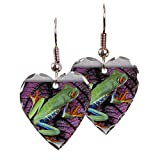 Earring Heart Charm Red Eyed Tree Frog on Purple Leaf