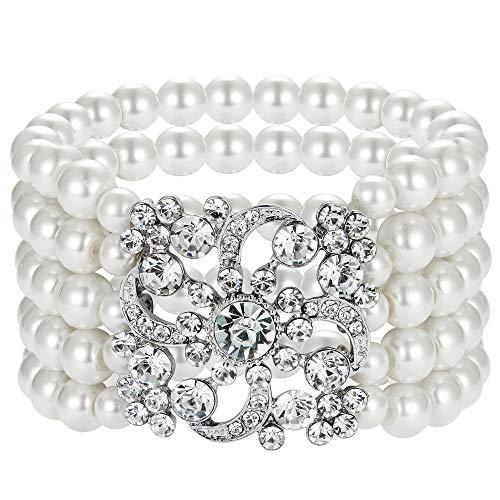 BABEYOND 1920s Flapper Bracelet Art Deco Pearl Bracelet Great Gatsby Elastic Imitation Pearl Bracelet Roaring 20s Accessories Jewelry 5 Rows (White)