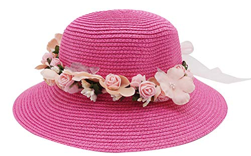 Lovful Girls Spring Summer Casual Straw Hats Floral Décor Travel Sun Visor Bucket Cap with Chin Strap, Fuchsia