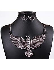 Qiyun Gold Silver Soaring Eagle Bird Pendant Chain Bib Necklace Dangle Earring Set Or, Argent, Soaring Eagle Oiseaux Balancent Collier