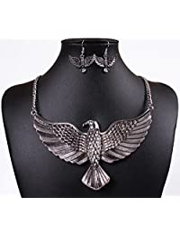 Winson Vintage Big Eagle Statement Collar Necklace Earring Jewelry Set