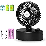 Winique Mini Oscillating Table Fan - Battery & USB Operated - 4400mAh Rechargeable Battery - Stepless Speed Regulating Cooling Fan – Powerful Wind Super Quiet Personal Fan for Office