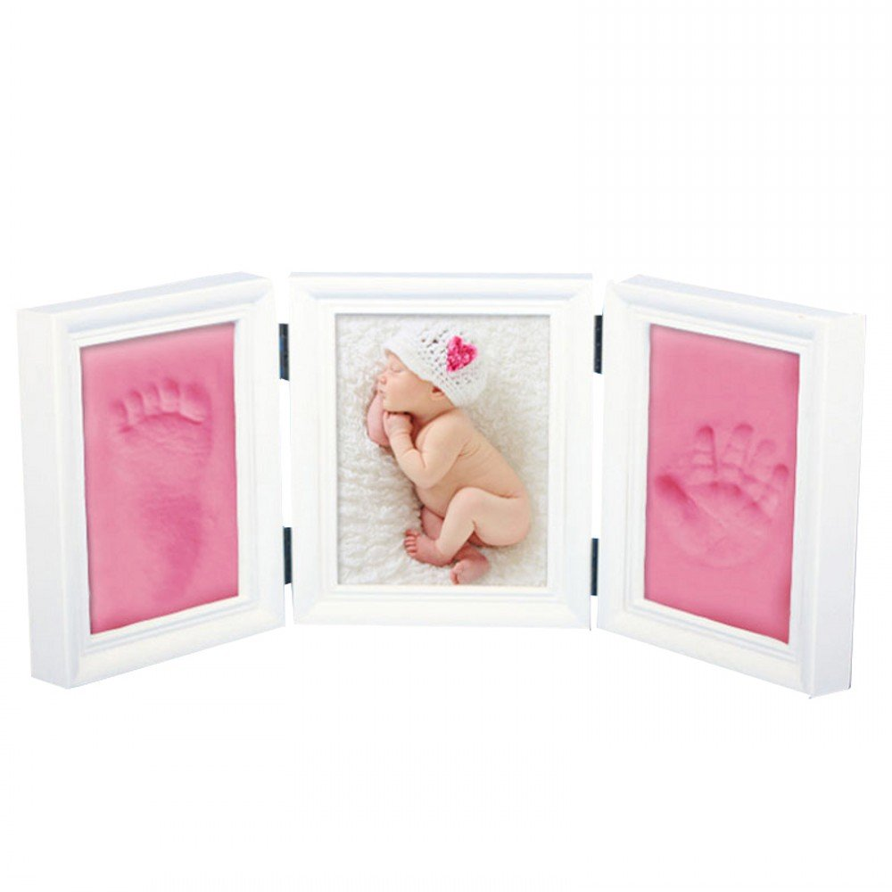 JZK Baby handprint footprint picture frame kit for boys and girls perfect baby shower gift, EN71 toy test passed non-toxic child safe, pink premium clay & white wood frames