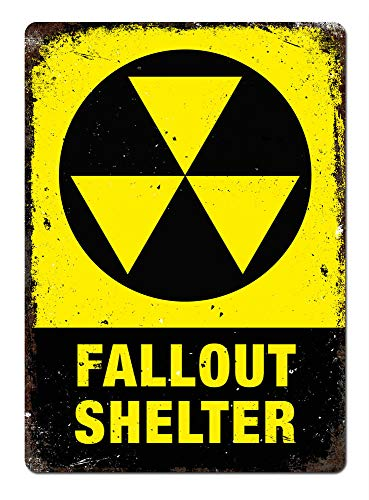 PotteLove Fallout Shelter Metal Wall Sign Plaque Art Halloween Undead Room Game Nuclear Decor Novelty Art Sign Funny Aluminum Metal Tin -