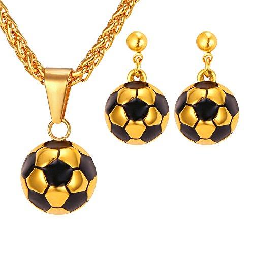 Womens Earrings Soccer Pendant Necklace