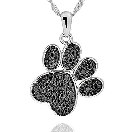 - GemsChest 925 Sterling Silver Diamond Accent Black Plated Paw Print Pendant Necklace