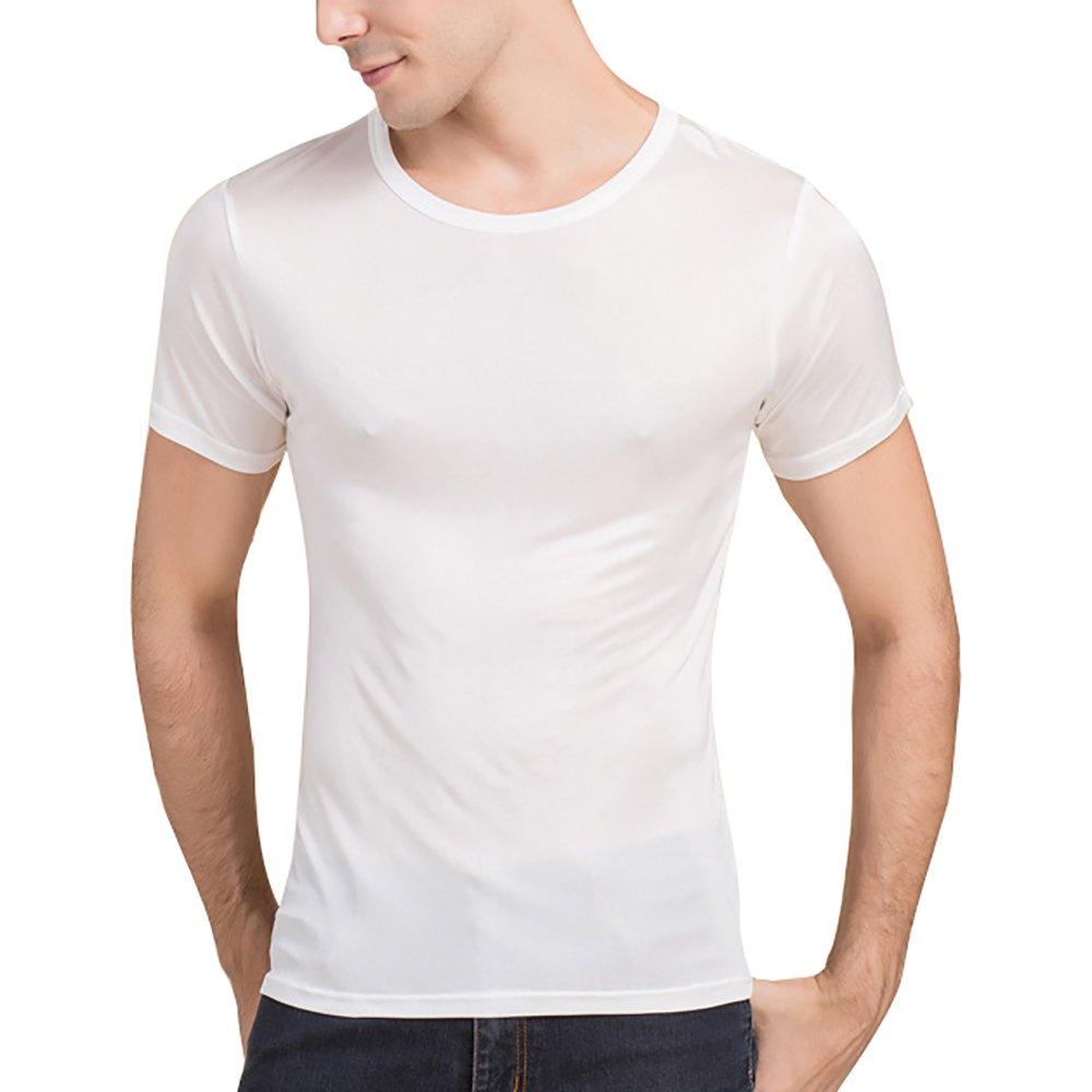 LingDooo Men's Pure Silk Shirt Soft Breathable Sport Basic T-Shirt Summer Short Sleeves Top (XS(Tag M), White)