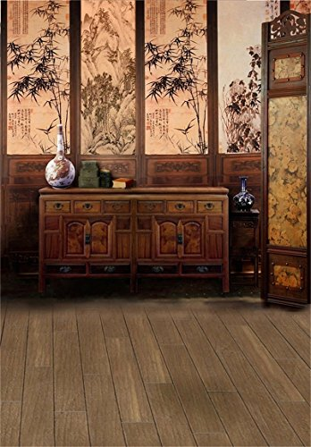 AOFOTO 6x8ft Girl Photography Studio Backdrop Photo Shoot Background Traditional Chinese Painting Wall Vintage Porcelain Vase Cabinet Retro Screen Wood Floor Adult Artistic Portrait Scene Video Props