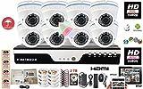 Evertech 8 Channel 1080N AHD High-Definition DVR + 8 Pcs. 1080P Hybrid AHD CVBS TVI CVI Vandal Proof 2.8-12mm Varifocal Lens 2.4MP CMOS Dome Camera + 2TB HDD Installed Security Surveillance System