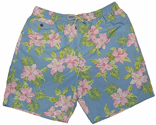 Printed Swim Trunks - Polo Ralph Lauren Mens Printed Swim Shorts Beach Trunks with Strings (Pastel Floral, XXX-Large Tall)