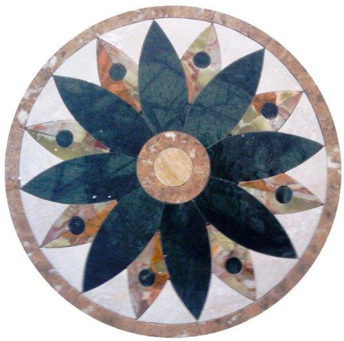 Tile Floor Medallion Marble Mosaic Onyx Petals Design ()