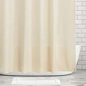 mDesign Water Repellent, Mildew Resistant, Heavy Duty Flat Weave Fabric Shower Curtain, Liner - Weighted Bottom Hem for Bathroom Shower and Bathtub - 72