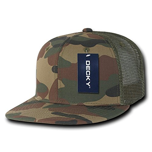 Bill Camo Cap (DECKY Cotton Flat Bill Trucker Cap, Woodland/Woodland/Olive)