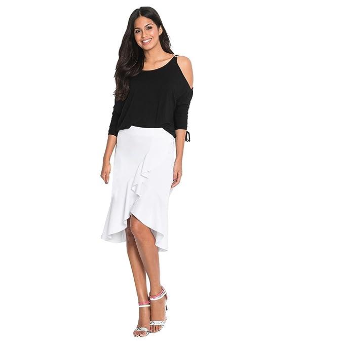 Faldas de Cintura Alta para Mujer, Dobladillo Irregular de ...