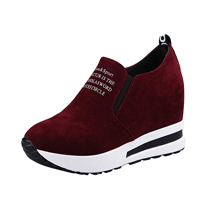 96d9955b00a Amazon.com  Womens Casual Letter Sport Sneakers Flock Slip-On Thick  Platform Wedges Shoes Comfort Walking Loafer Shoes 5-7  Clothing