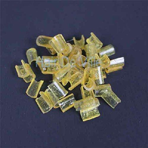 100 PCS Amber Hair Extension Fusion Keratin U Glue Tips Rebond Granules By Hair De Ville+ 3 Pcs Silicone Finger Protectors ()