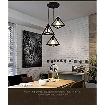 LEDIARY Vintage Iron Triangular Pendant Light Industrial Hanging Light Living Room,Bedroom,Kitchen Pendant Lamp Chandeliers Black 3 Head Ceiling Lamp