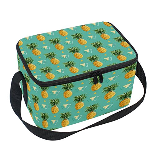 Pineapple Cooler (Naanle Geometric Pineapple Canvas Zipper Insulated Lunch Bag Cooler Tote Bag, Pineapple Lunch Box Lunchbox Meal Prep Handbag for Adult Men Women Kids Girls Boys)