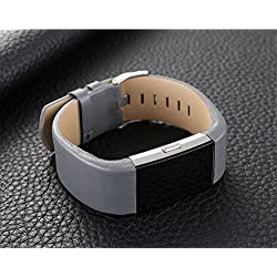 ArMordy Sports Genuine Leather Watch Band Strap For Fitbit Charge 2 Wrist Band Bracelet Smart Watches Strap WristBand Bracelet N[ Gray ]