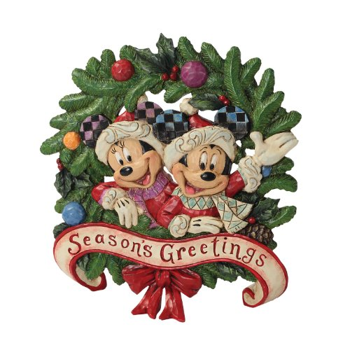Enesco Disney Traditions by Jim Shore Holiday Mickey and Minnie Plaque 6-3/4-Inch