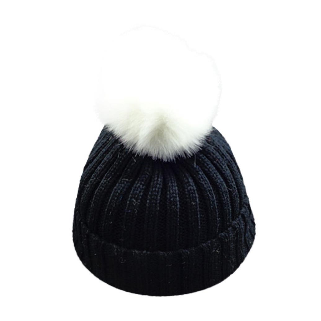 VENMO Bebé Niños niñas Invierno Gorro de Punto Caliente Beanie Sombreros de Bolas (Beige)