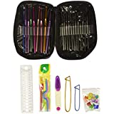 OldShark 22 Sizes Crochet Hooks, Full Size 0.6mm to 6.5mm Knitting Needles, with 27 Accessories Tools, Crocheting Kits with PU Case