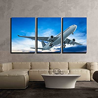3 Piece Canvas Wall Art - Commercial Airplane Flying at Sunset - Modern Home Art Stretched and Framed Ready to Hang - 24