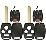 KeylessOption Keyless Remote Uncut Car Key Fob Shell and Button Pad Fix Outer Shell Repair (Pack of 2)