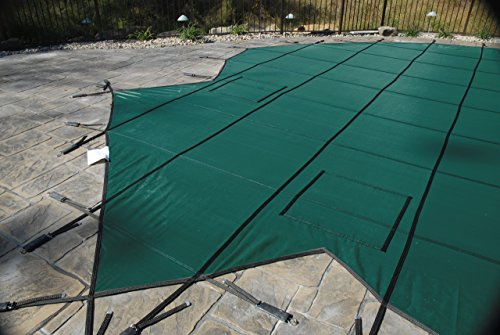 (GLI ProMesh 16 FT X 32 FT Rectangular 4 FT Radius Corners Safety Cover System with 4 FT X 8 FT Right Step 4 FT Offset, Green)
