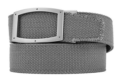 Newport Grey Nylon Canvas Casual Dress Belt with Automatic Buckle for Men - Nexbelt Ratchet System Technology ()
