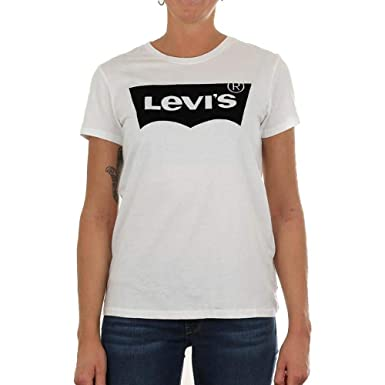Levis Camiseta para Mujer Camiseta The Perfect tee Flock Housemark Blanco White: Amazon.es: Ropa y accesorios