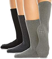 LA Active Grip Socks - Non Slip Casual Crew Socks - Cozy Warm Ideal for Home, Indoor Yoga, and Hospital - for