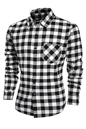 Mens Plaid Shirts, Fashion Casual Cotton Turn Down Collar Bu