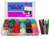 Loom Rainbow Rubber Band Complete Collection Organizer Storage Kit – Includes Over 4000 Rainbow Rubber Bands Including Glow In The Dark Individually Bagged and 100 S Clips In a Convenient Storage Organizer Case With Glitter Glue To Decorate