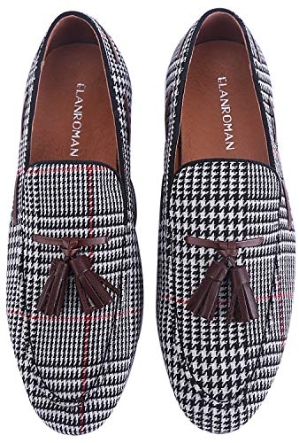 ELANROMAN Loafers Men Velvet Shoes Hip-hop Fashion Grid Pattern with Tassels Handmade Noble Slip-on Party Glitter Dress Wedding Leather Shoes Black-White US 10 EUR 44 Feet Lenght - Fashion Grid