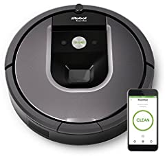 The Roomba 960 robot vacuum seamlessly navigates room to room to clean an entire level of your home, recharging and resuming until the job is done. Roomba 960 loosens, lifts, and suctions dirt with up to 5x more air power and requires less ma...